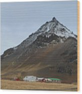 Farm At The Base Of Mt Stapafell Wood Print