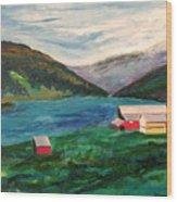 Farm At The Fjord Wood Print