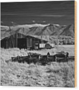 Farm Building In Infrared Wood Print