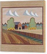 Farm By Ripon-marquetry Wood Print