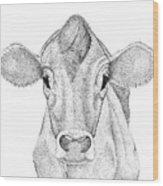 Farm Cow In Pointillism Wood Print
