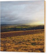 Farm Field Sunset Wood Print