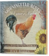 Farm Fresh Barnyard Rooster Morning Sunflower Rustic Wood Print