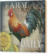 Farm Fresh Red Rooster Sunflower Rustic Country Wood Print