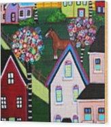 Farm Home Wood Print