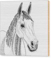 Farm Horse In Pointillism Wood Print