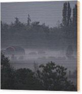Farm In Fog Wood Print