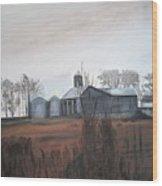 Farm In The Fall Wood Print