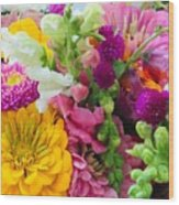 Farm Market Flowers Wood Print