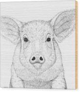 Farm Pig In Pointillism Wood Print