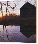 Farm Pond At Sunset Wood Print