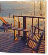 Farm Porch Morning Wood Print