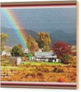 Farm Scene With Rainbow After Some Rains L A With Decorative Ornate Printed Frame. Wood Print