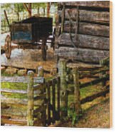 Farm Wagon Wood Print