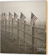 Farm With Fence And American Flags Wood Print