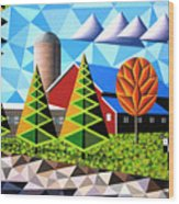 Farm With Three Pines And Cow Wood Print