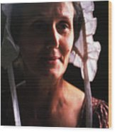 Farm Woman In Bonnet Wood Print