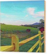 Farm Yard Fence Wood Print