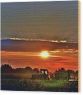 Farmer And A Sunset. Wood Print