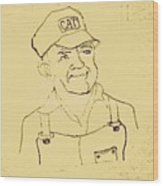 Farmer In Cat Hat Wood Print by Sheri Buchheit