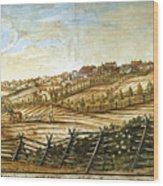 Farmer Plowing Wood Print