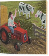 Farmer Visiting Cows In Field Wood Print by Martin Davey