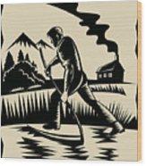 Farmer With Scythe Wood Print by Aloysius Patrimonio