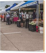 Farmers Market Before The Crowd Wood Print