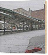 Farmers Market First Snow Wood Print