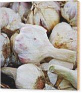 Farmers Market Garlic Wood Print by Cathie Tyler