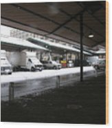 Farmers Market In The Snow Wood Print
