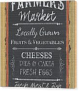 Farmer's Market Signs Wood Print