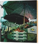 Farmers Market With Striped Umbrellas Wood Print