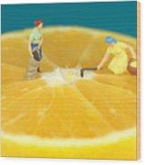 Farmers On Orange Wood Print by Paul Ge