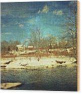 Farmhouse Across The River Wood Print