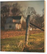 Farmhouse And Fence Post Wood Print
