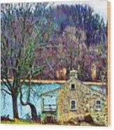 Farmhouse By The Lake Wood Print