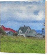 Farmhouse By The Sea Wood Print