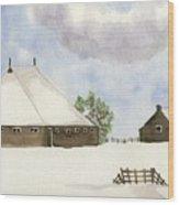 Farmhouse In The Snow Wood Print