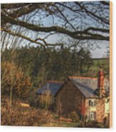 Farmhouse In The Valley Wood Print