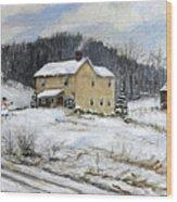 Farmhouse Snowman Wood Print