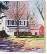 Farmhouse With Red Barn Wood Print