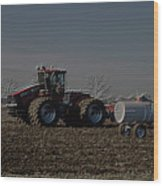 Farming April In The Field On The Case 500 Pa Wood Print