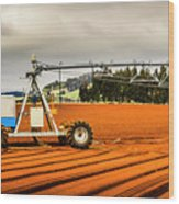 Farming Field Equipment Wood Print