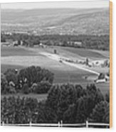 Farming Panorama Finger Lakes New York Bw Wood Print