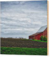 Farming Red Barn On A Quite Spring Day Wood Print
