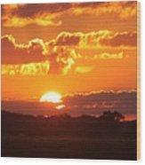 Farmland Sunset Wood Print