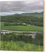 Farmland View Over The Connecticut River  Wood Print
