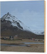 Farms At The Base Of Mt Stapafell In Iceland Wood Print