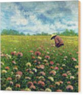 Farmstand Flower Lady Wood Print